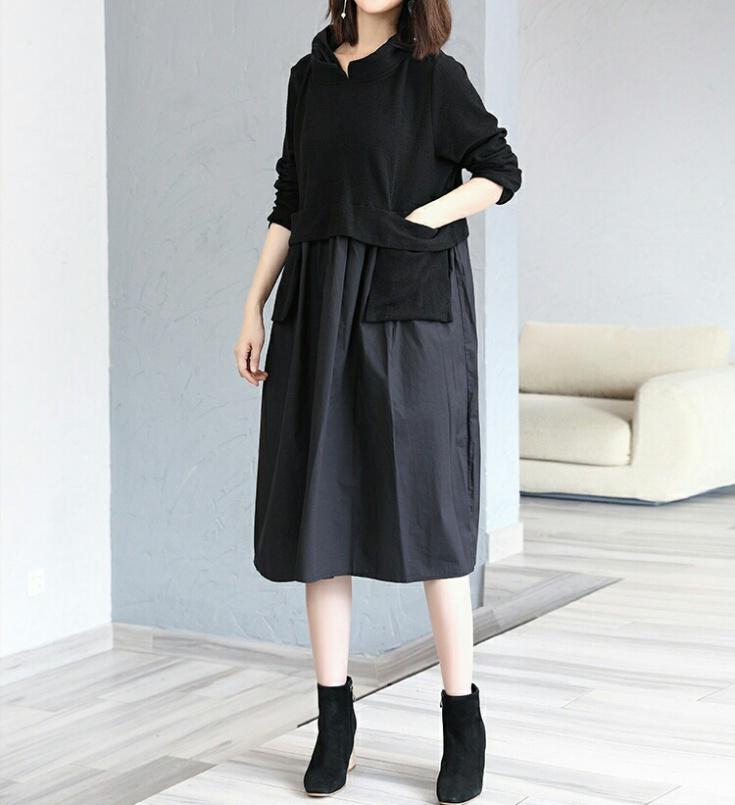 Платье из двух видов ткани