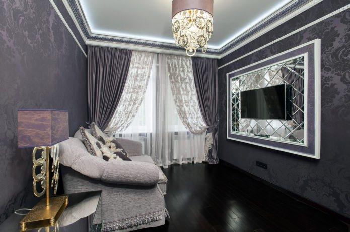 черный плинтус в гостиной