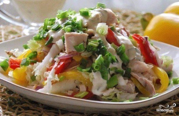 Диетический овощной салат с курицей