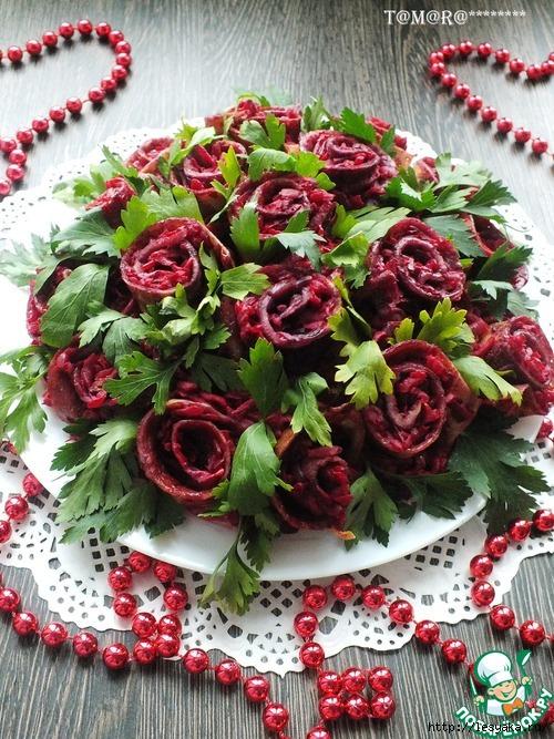 """""""Букет роз"""" - праздничный салат с блинами!"""