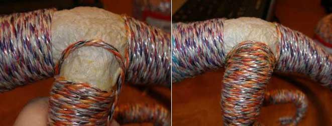 завершаем наклейку верёвки своими руками на дракона ручной работы