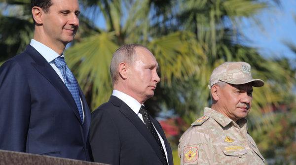 ВВ Путин, С. Шойгу и Башар Асад, фото с сайта m.gazeta.ru
