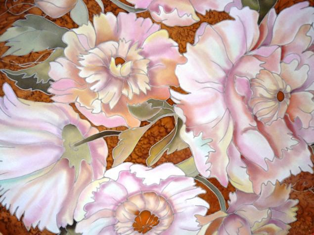 Рисуем бежевые пионы на шёлке. МК от Виктории Игнатовой