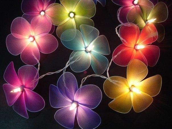 Интересная идея для декора: цветы-ночники и не только