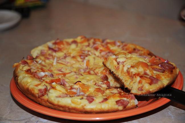Быстрая пицца на сковороде за 1 минут рецепт с фото