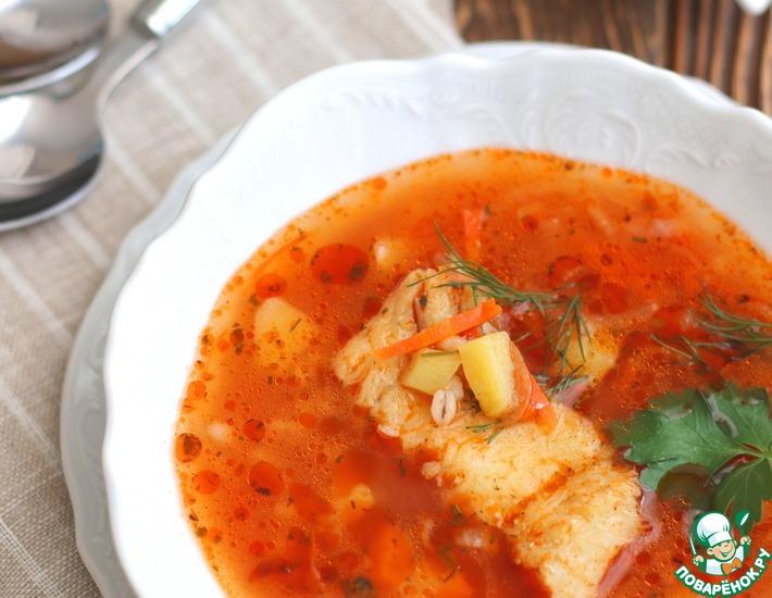 Рецепт: Томатный суп с треской и перловкой