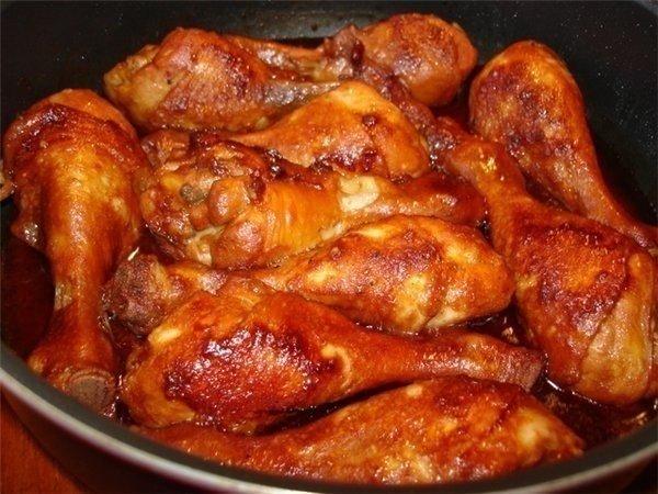Куриные ножки в соево- медовом соусе.