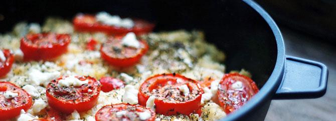Запеканка из цветной капусты с козьим сыром