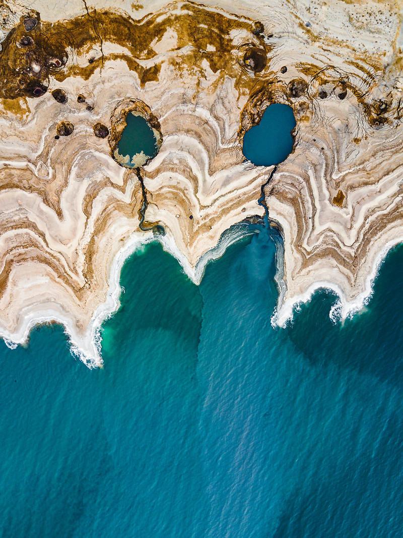 Плачущие глаза, морщинистая кожа Израиль, игра красок, красота, мертвое море, пейзажи, с высоты птичьего полета, фото, фотогра