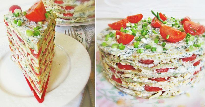 Великолепный закусочный торт из кабачков, помидоров и сыра
