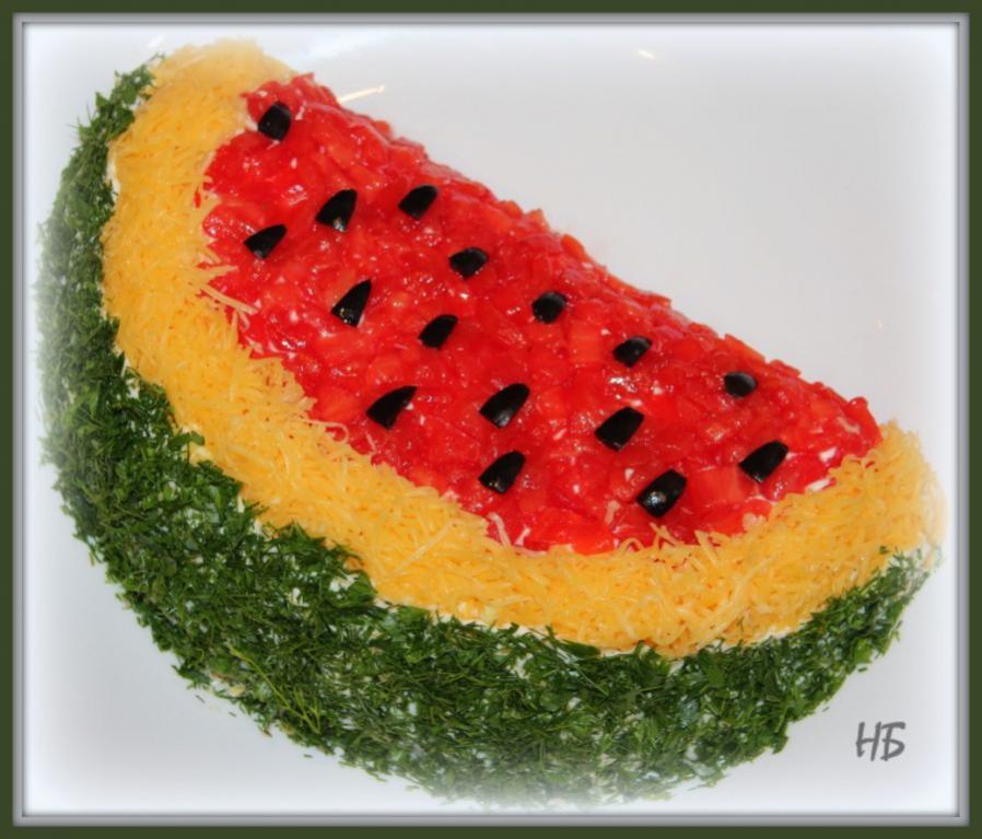 Салат арбузная долька с пошаговым фото