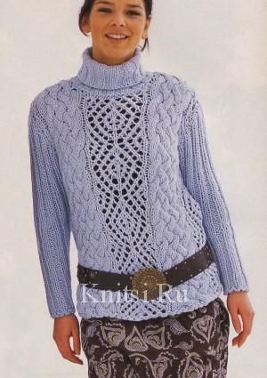 Пуловер С Ажурными Полосами