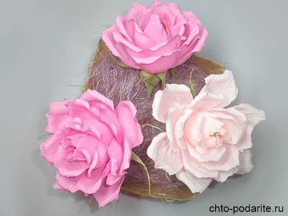 Коробка с розами из конфет