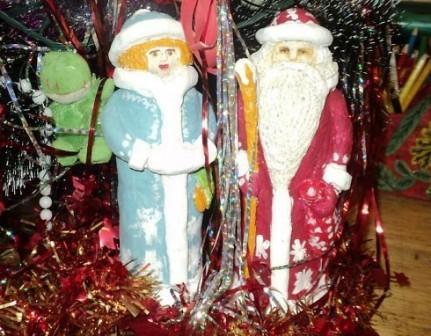 Дед Мороз из теста на елку!