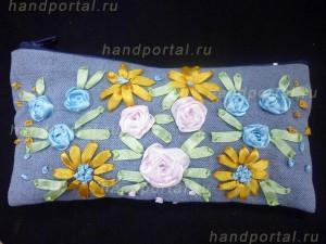 «Французский узелок и ленточный стежок» Пенал, украшенный вышивкой из лент