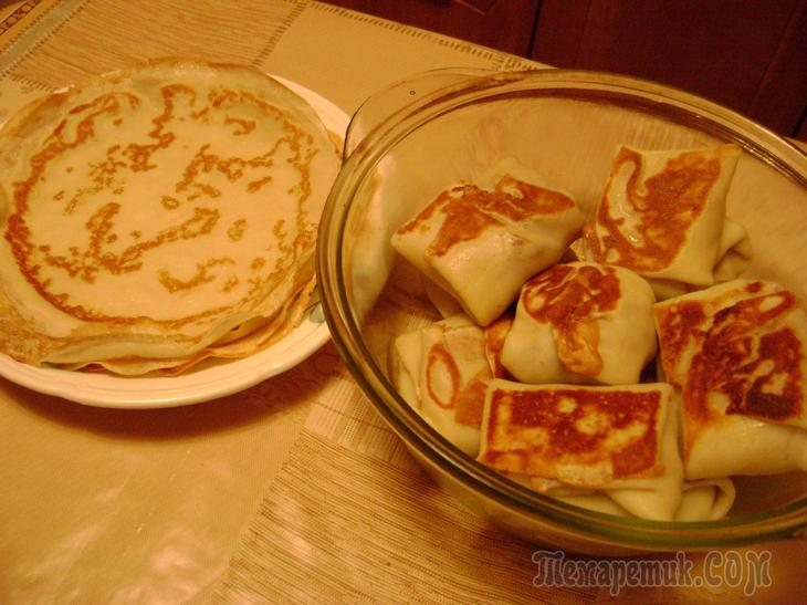 Блинчики с лесными грибами, запеченные в русской печи