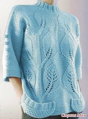 Узор спицами для шикарного пуловера 0
