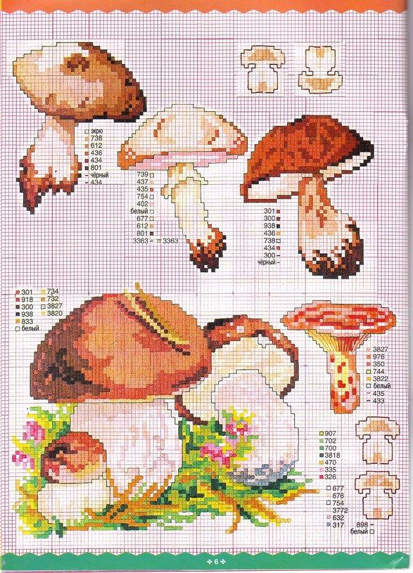 Сезонная вышивка крестом - грибная тема