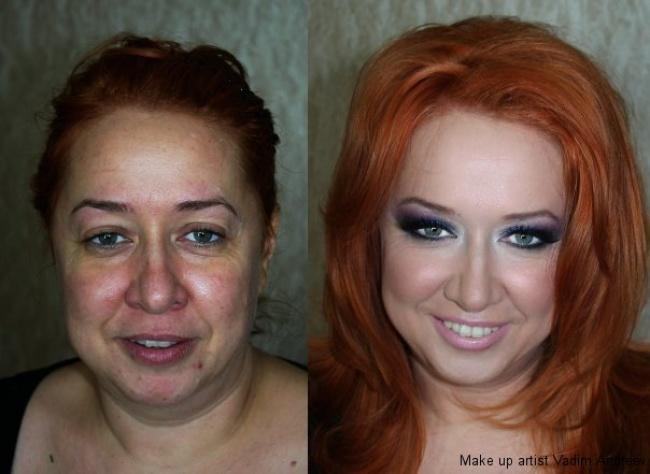 Девушки до макияжа и после