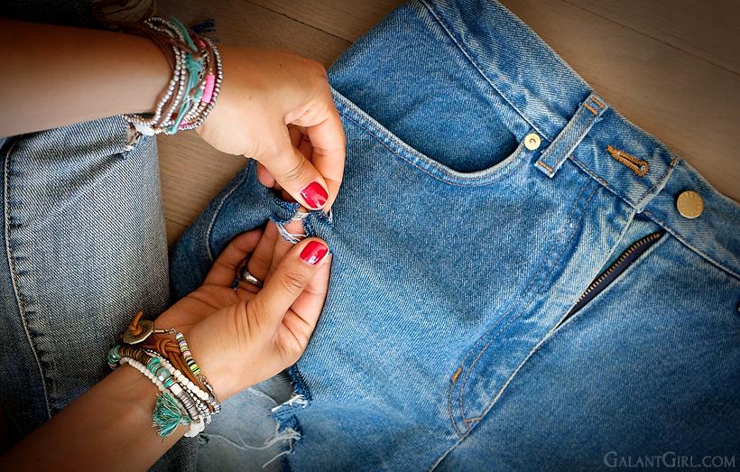 Как сделать рваные джинсы если порвалось в коленке 481