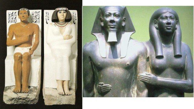 На фотографии принц Рахотеп с женой Нофрет, фараон Менкаура c женой Хамерернебти. IV династия, Древнее царство, XXVII-XXV века до н.э. древний египет, интересно, история