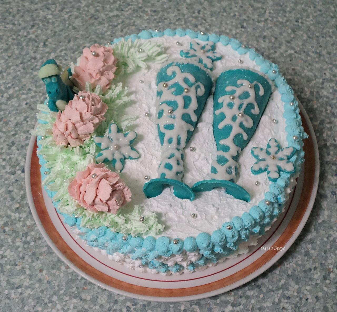 """Торт """"С НОВЫМ ГОДОМ""""-птичье молоко. Поздравляю всех сайтеров!!!!!!!!!"""