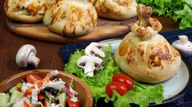 Куриные ножки в хрустящих мешочках с грибами и картофелем