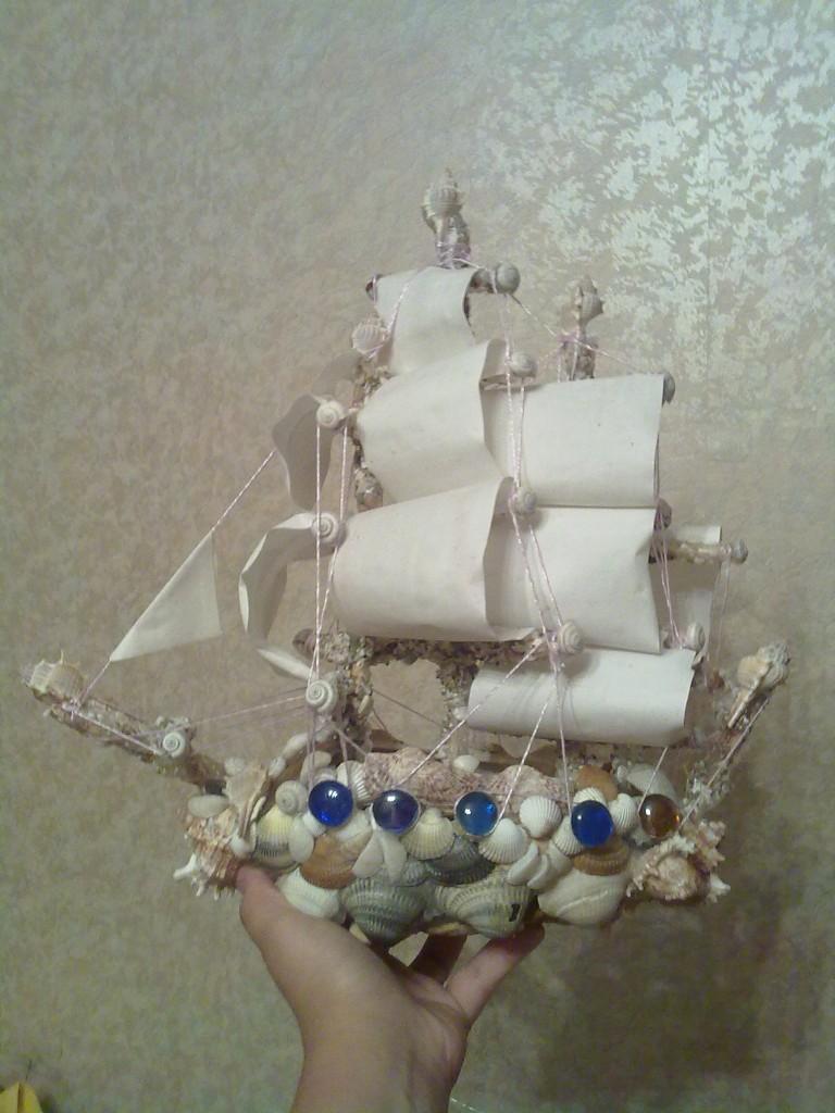 Корабль из ракушек. Сделано моими руками