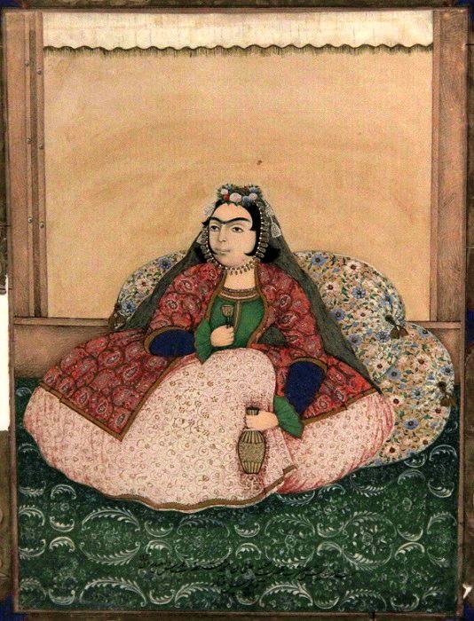 Портрет дамы, сидящей на подушках.