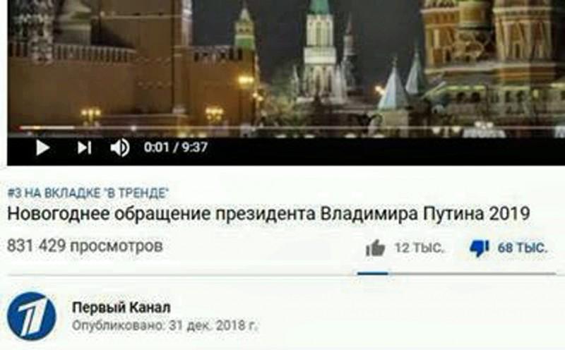Первый канал был вынужден закрыть комментарии к новогоднему поздравлению Путина