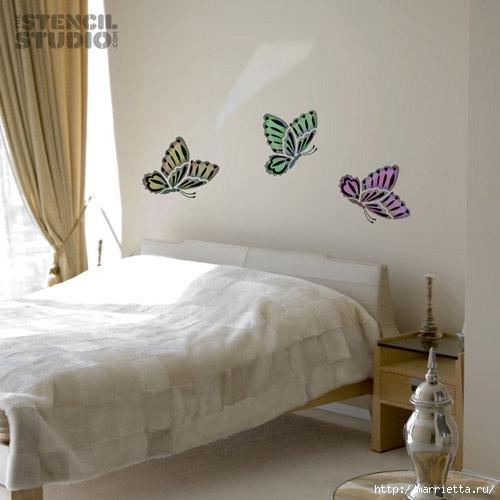 Порхающие бабочки в интерьере. Трафареты для стен и потолка (14) (500x500, 99Kb)