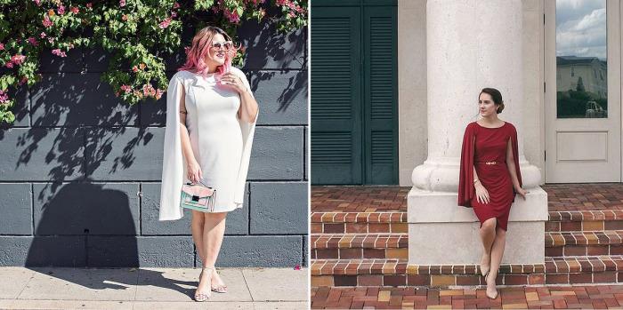 Платье с накидкой - предмет одежды, который поможет скрыть недостатки фигуры.