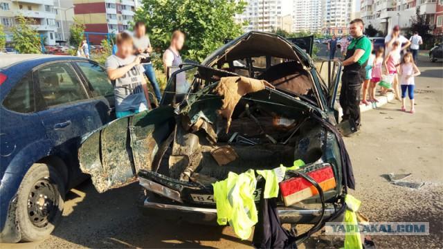 В Краснодаре +40. За рулем уничтоженного авто сидит приунывший газовый баллон...