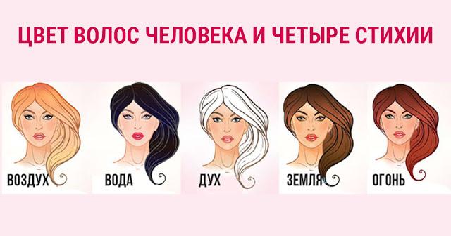 Цвет волос человека и четыре стихии