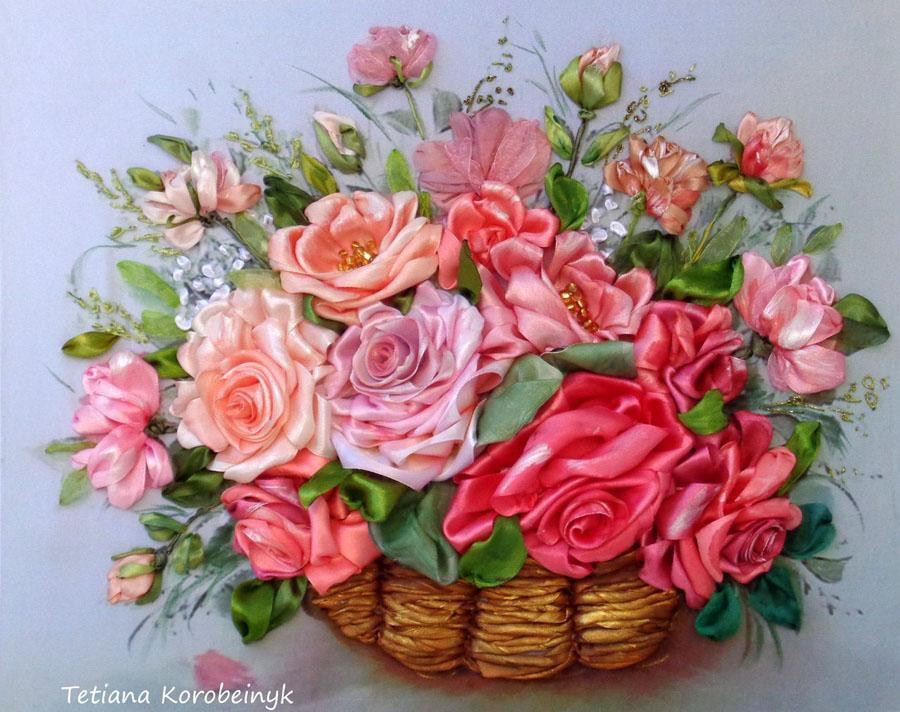 Цветочные букеты - вышивка лентами