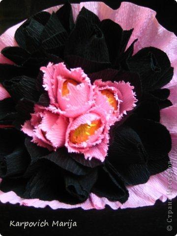 Мастер-класс Свит-дизайн День рождения Бумагопластика МК бархатных тюльпанов и Двухцветный стиль Бумага гофрированная Бусинки Продукты пищевые фото 5