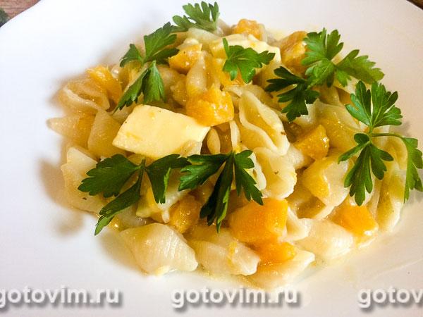 Паста с тыквой и плавленым сыром. Фотография рецепта