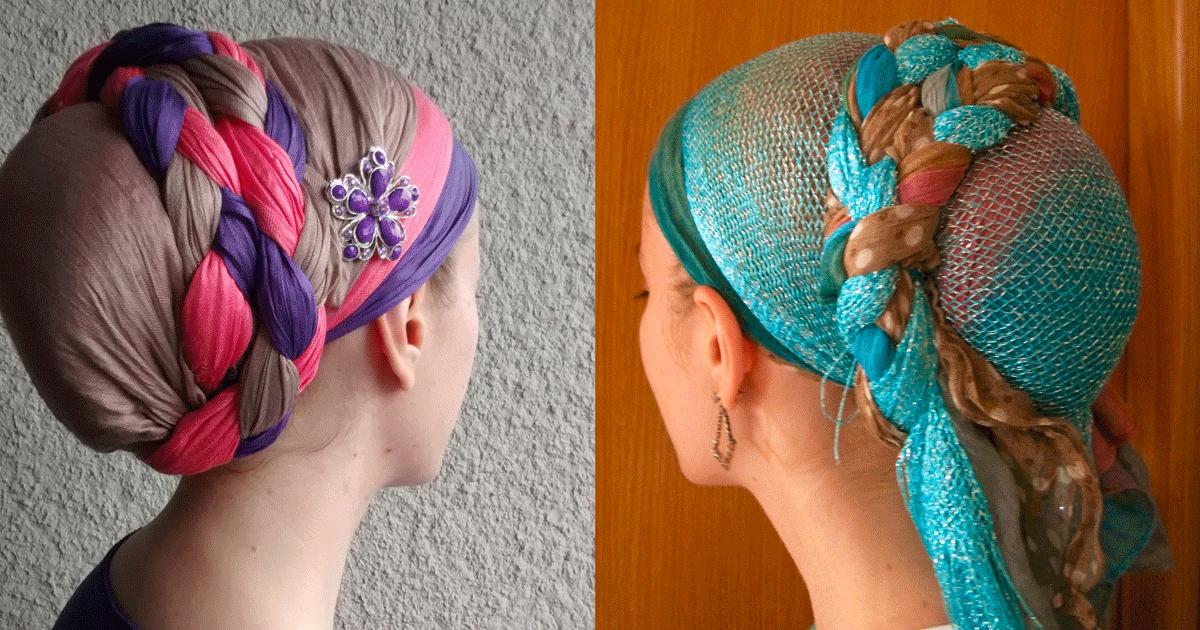 Как красиво завязать на голове палантин