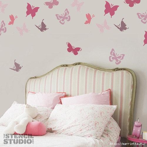 Порхающие бабочки в интерьере. Трафареты для стен и потолка (23) (500x500, 109Kb)
