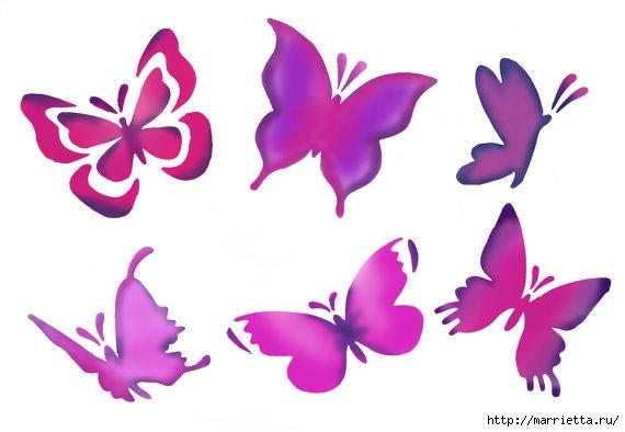 Порхающие бабочки в интерьере. Трафареты для стен и потолка (24) (570x394, 86Kb)