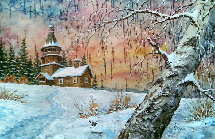 Российские пейзажи запечатленные на бересте.