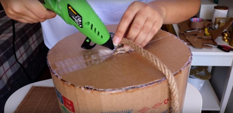 как сделать большую корзину из картона