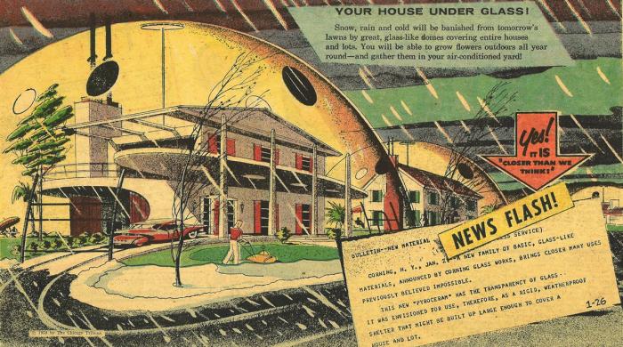 Стеклянные купола над домами.