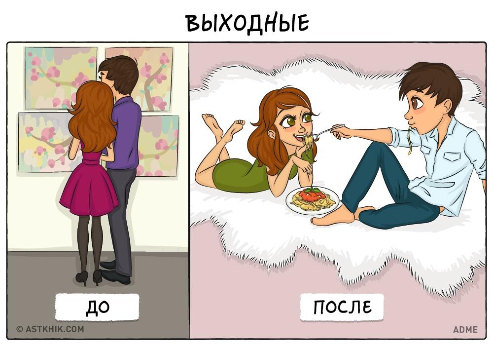 Как выглядит жизнь до и после свадьбы