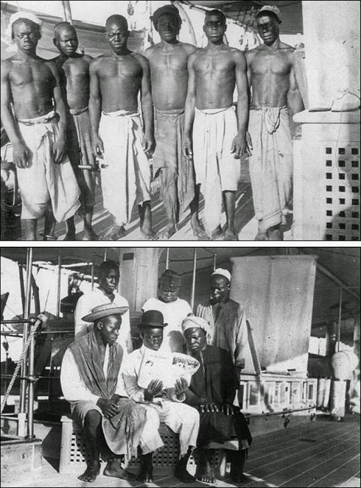 Спасенные беглецы на борту корабля HMS Sphinx. 1907 год