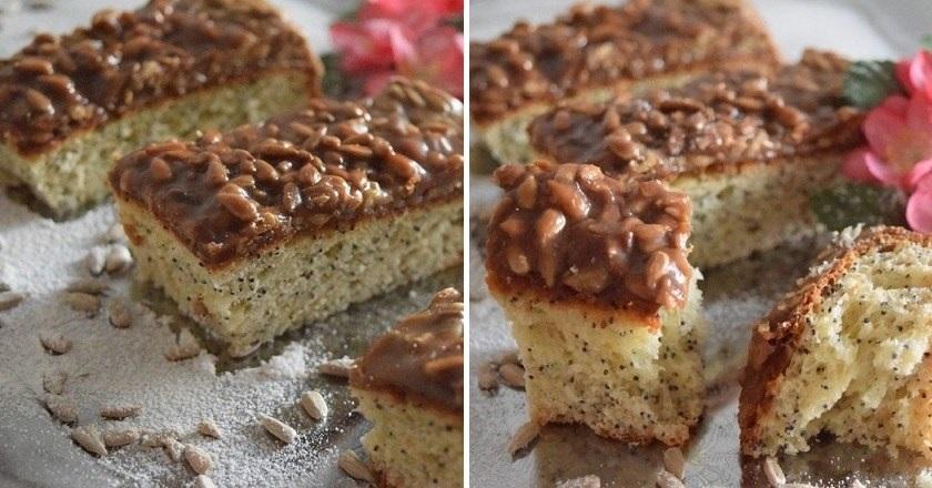 Пирог с карамелью: ароматная выпечка с жареными семечками