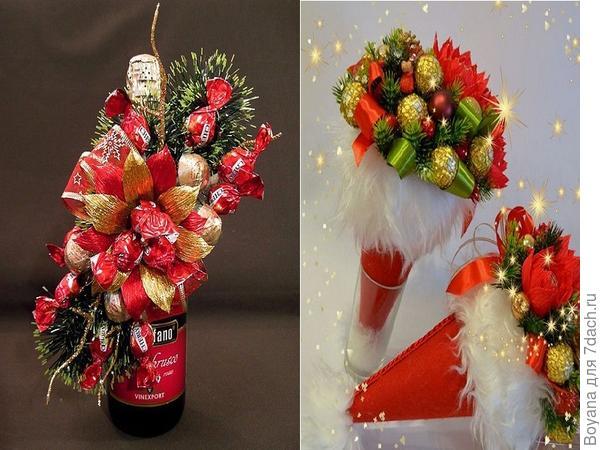 Новогодние композиции из конфет. Фото с сайта /https://ru.pinterest.com/