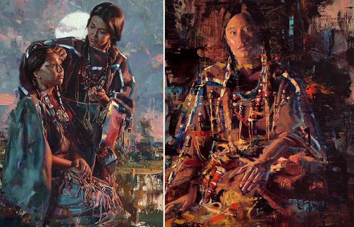 Аутентичные портреты коренных жителей Америки, написанные потомком индейцев