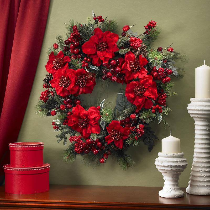 Искусственные цветы новогодний декор