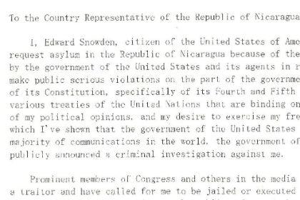 Никарагуанские СМИ в ночь на воскресенье обнародовали письмо  Эдварда Сноудена